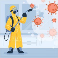 ویروس کرونا با طرح مامور ضد عفونی کننده محیط