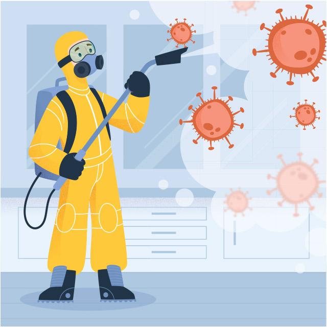 وکتور لایه باز ویروس کرونا با طرح مامور ضد عفونی کننده محیط