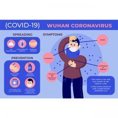 وکتور لایه باز ویروس کرونا با متن در خانه بمانید