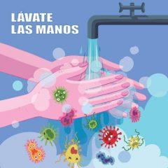 وکتور لایه باز ویروس کرونا با طرح شستشوی دست ها