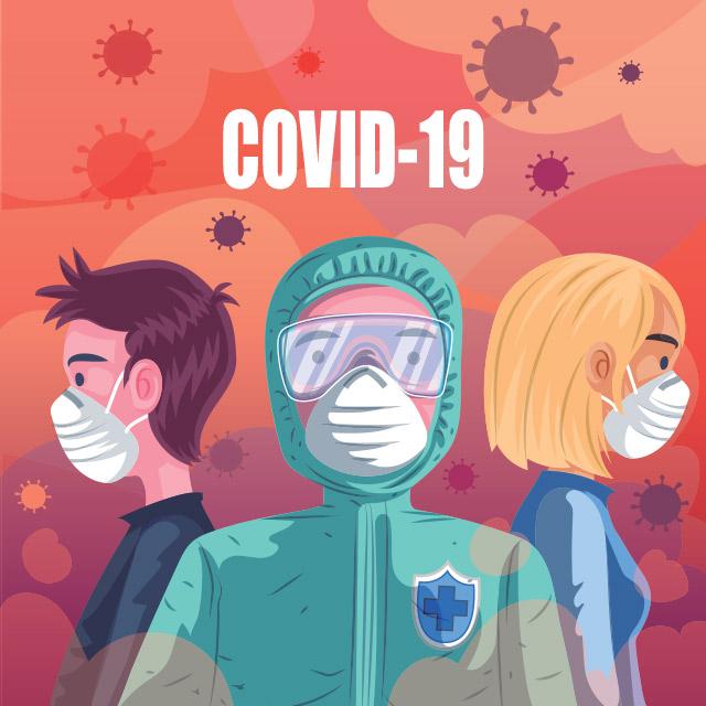 وکتور لایه باز کرونا و افراد با ماسک در محیط آلوده