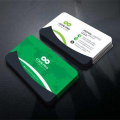 دانلود مجموعه کارت ویزیت لایه باز با تم جذاب سبز وسفید