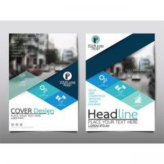 دانلود وکتور لایه باز بروشور شرکتی آبی با طراحی زیبا