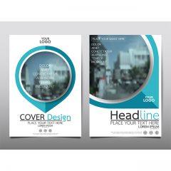 وکتور فایل دیزاین کاتالوگ شرکتی خاص با تم آبی و طرح دایره