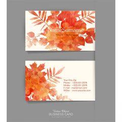 وکتور لایه باز کارت ویزیت با طرح برگ درخت و رنگ نارنجی