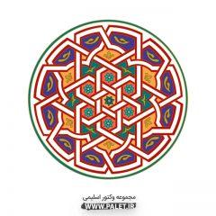دانلود وکتور اسلیمی قاب دایره زمینه رنگارنگ جذاب
