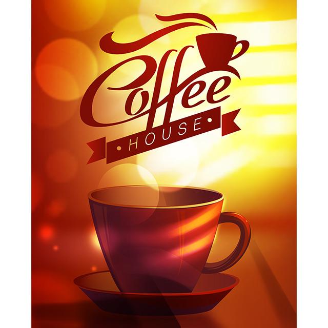 دانلود وکتور لایه باز فنجان قهوه با ترکیب رنگ زرد و قرمز