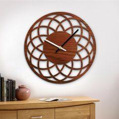 دانلود طرح ساعت دیواری چوبی زیبا به رنگ قهوه ای