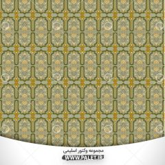 دانلود وکتور اسلیمی رنگی طرح کاشی سنتی