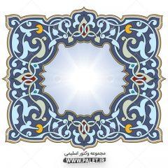 دانلود وکتور المان های اسلیمی آبی زیبا