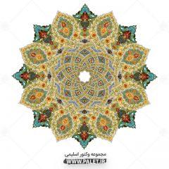 وکتور اسلیمی شمسه طرح سنتی گل