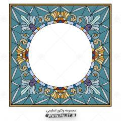 وکتور قاب عکس حاشیه گلدار رنگ آبی اسلیمی زیبا