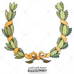 طرح گل و بته تذهیب با رنگبندی سبز و نارنجی