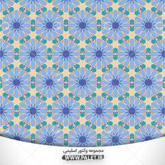 وکتور گل های بزرگ آبی تذهیبی