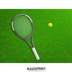 دانلود طرح وکتور ورزشی توپ و راکد تنیس