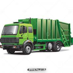 دانلود وکتور ماشین حمل زباله به رنگ سبز