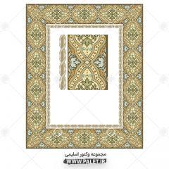 دانلود وکتور اسلیمی کادر و حاشیه چهارگوشه