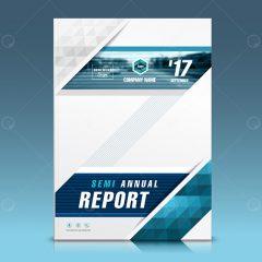 دانلود بروشور طرح گزارش سالانه زمینه سفید آبی