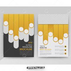 دانلود طرح گرافیکی وکتور بروشور تجاری زمینه زرد