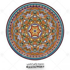 وکتور اسلامی شمسه طرح گلدار و رنگی زیبا