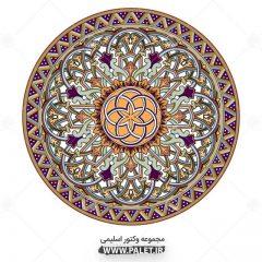 وکتور شمسه تذهیب طرح اسلیمی سنتی رنگی
