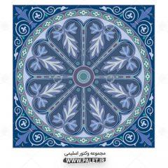 وکتور شمسه رنگ آبی تذهیب بصورت لایه باز