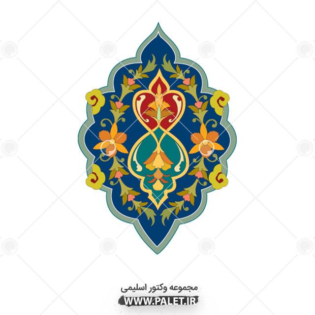 وکتور طرح اسلامی با گل های زرد و سبز