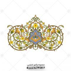 وکتور طرح اسلیمی و تذهیب با گل های زرد