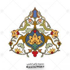 دانلود وکتور حاشیه اسلیمی « طرح گل و بوته » رنگی