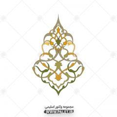 وکتور اسلیمی و تذهیب شماره 44 با رنگ سبز و زرد