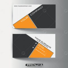 وکتور کارت ویزیت فلت طراحی حرفه ای زمینه نارنجی