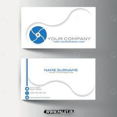 وکتور کارت ویزیت فلت طراحی حرفه ای زمینه سفید آبی