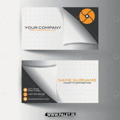 وکتور کارت ویزیت فلت طراحی حرفه ای سفید مشکی