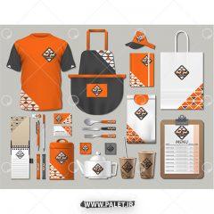 وکتور ست ابزار کامل کافی شاپ طرح زمینه نارنجی