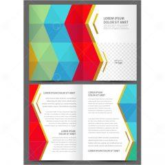 دانلود طرح وکتور بروشور تجاری افکت زمینه رنگی