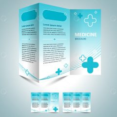 دانلود وکتور بروشور پزشکی زمینه سفید آبی