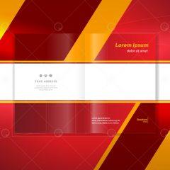 دانلود وکتور بروشور تجاری طراحی 3بعدی زمینه قرمز
