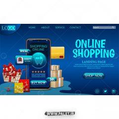 دانلود وکتور قالب سایت تجارت آنلاین زمینه آبی