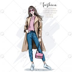 دانلود وکتور مدل دخترانه کیف و لباس صورتی فشن