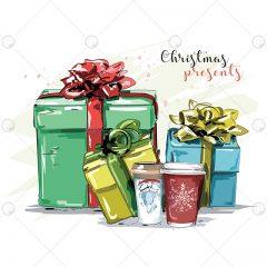 دانلود وکتور کادو و جعبه های کریسمس رنگارنگ