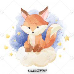 دانلود طرح وکتور کودکانه بچه روباه