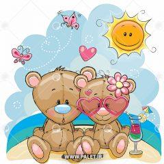 طرح وکتور کودکانه خرس عروسکی عاشقانه