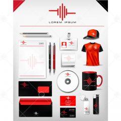 دانلود وکتور ست اداری تجاری طراحی قرمز مشکی