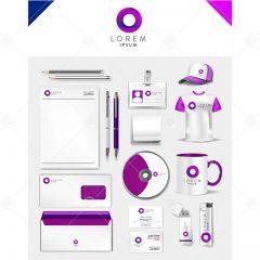 دانلود وکتور ست اداری تجاری طراحی سفید بنفش