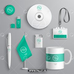 موکاپ مجموعه کامل ست اداری سبز رنگ با فرمت psd لایه باز