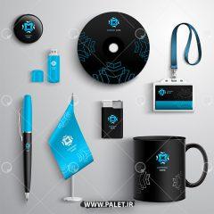 دانلود فایل لایه باز ست اداری کامل تم رنگی مشکی آبی