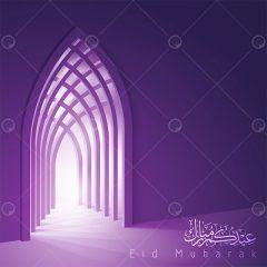 مجموعه طرح وکتور اسلامی تبریک عید با رنگ بنفش