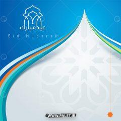 وکتور تبریک عید مجموعه طرح اسلیمی آبی