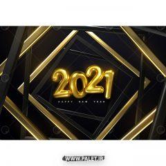 دانلود طرح 3 بعدی وکتور سال 2021 زمینه طلایی