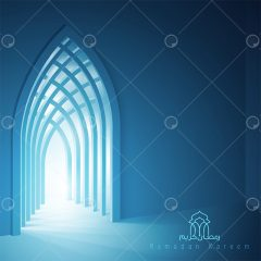 پوستر طرح آبی وکتور لایه باز ماه رمضان